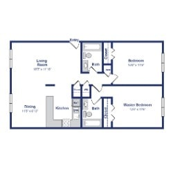 Basswood 2BR 2BA 875sf